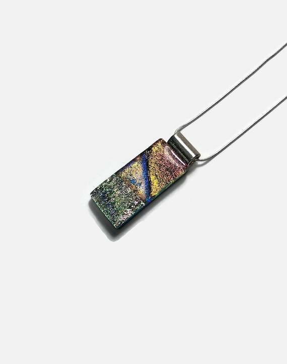 glass jewelry, gifts for her, fused glass necklace, Unique jewelry, statement jewelry, Dichroic Glass Pendant, glass necklace, unique gifts