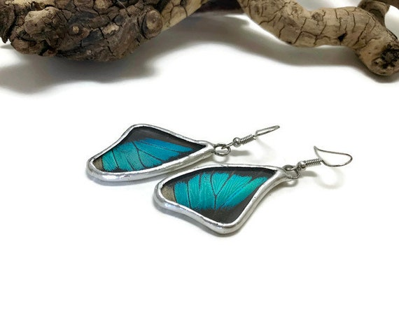 Real butterfly jewelry, Real Butterfly earrings, unique gifts, insect earrings, gifts for her, insect jewelry, real butterfly wing, glass