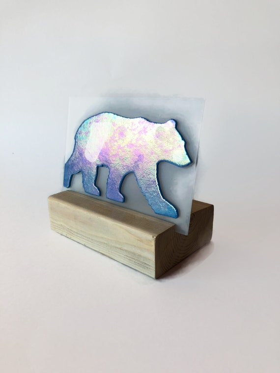 Bear candle holder, Glass art, unique art, Gifts for him, Bear decor, Fused Glass art, unique art, glass home decor, unique gifts for mom