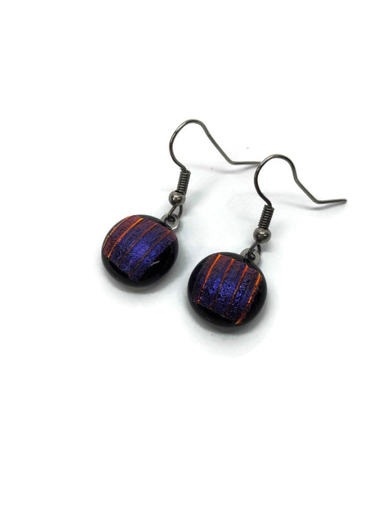 Glass jewelry, dichroic glass earrings, gifts for mom, gifts, fused glass earrings, glass earrings, dichroic glass earrings, dangle earrings