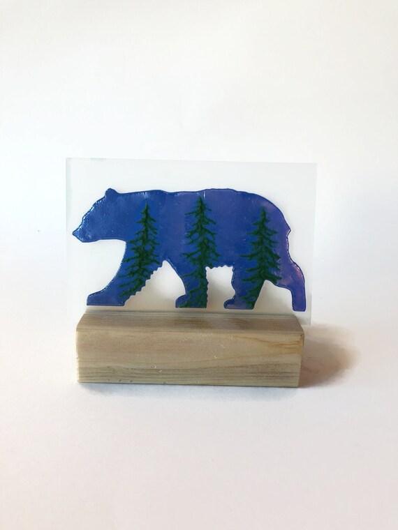 Glass art, unique art, Gifts for him, Glass candle holder, Bear decor, Fused Glass art, unique art, glass home decor, unique gifts for mom