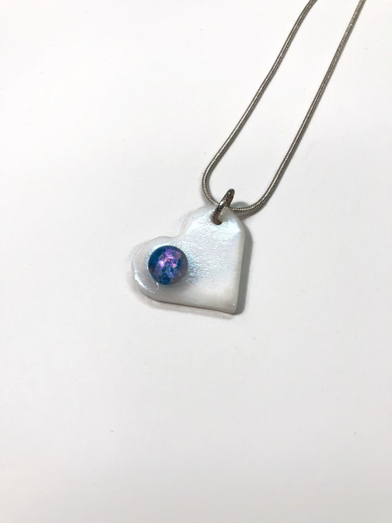 White Glass heart necklace, unique Gifts for her, jewelry for her, glass pendant, Dichroic glass heart pendant, Best friend gifts, Gifts