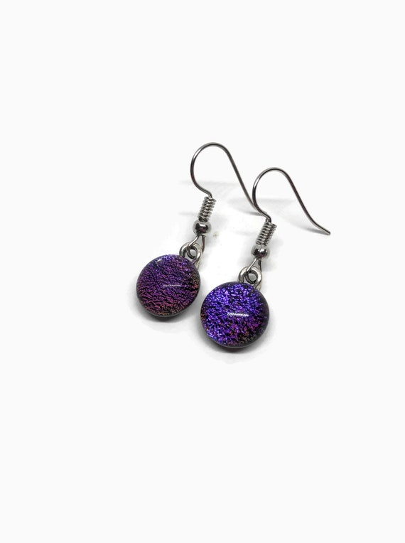 Dichroic glass purple dangle earrings, jewelry for her, fused glass jewelry
