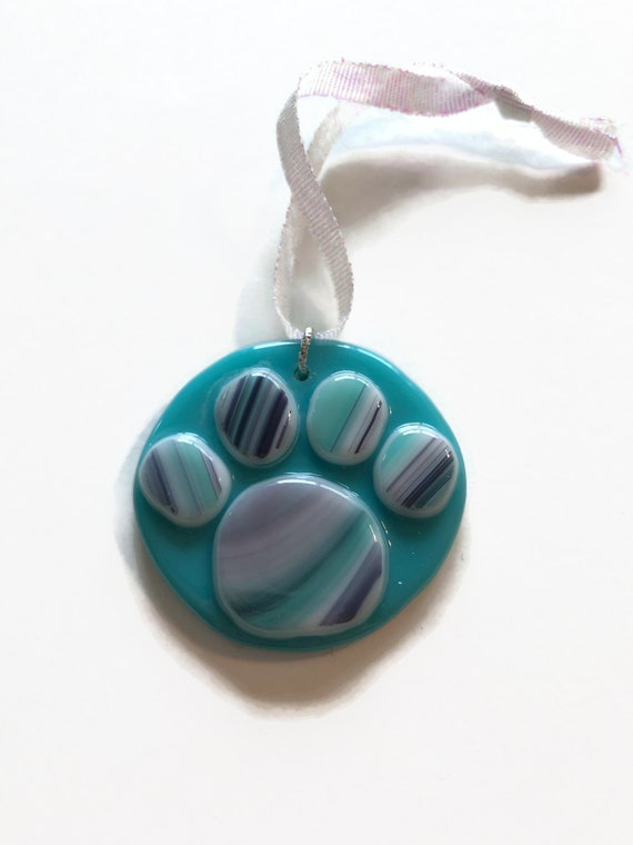 Handcrafted fused Glass paw print memorial suncatcher, Unique gifts for mom, animal lover gifts, glass home decor