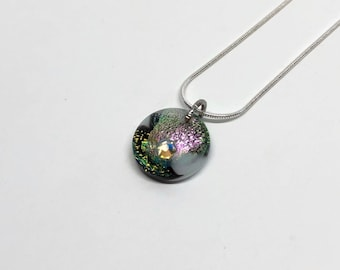 Glass jewelry, jewelry for her, unique gifts for mom, fused glass necklace, dichroic glass jewelry, unique jewelry, glass necklace, gifts
