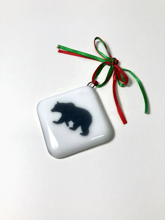 Bear ornament, unique gifts, christmas gifts, gifts for her, fused glass decoration, Christmas decoration, Unique ornament, christmas decor