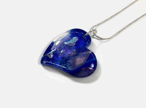 Dichroic glass blue heart pendant, Unique gifts for mom, Fused glass Necklace