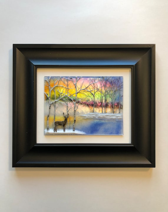 Fused Glass Art, scenery wall art, gifts for her, Unique art, Glass home decor, glass sculpture, nature lover, tree art