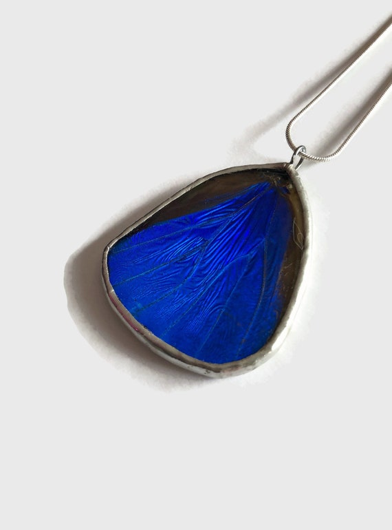 Blue morpho butterfly necklace, unique gifts for her, real butterfly wing, best friend gifts, insect jewelry, butterfly taxidermy, gifts