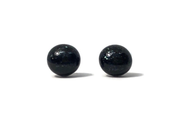 Black sparkle Glass studs, Fused glass minimalist jewelry, unique gifts for her, dichroic glass earrings