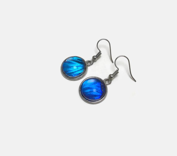 Blue morpho butterfly earrings, real butterfly wing, gifts for mom, butterfly taxidermy
