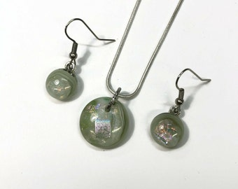Green and white pendant and earrings set, Dichroic fused glass jewelry, Unique gifts for her, fused glass jewelry set