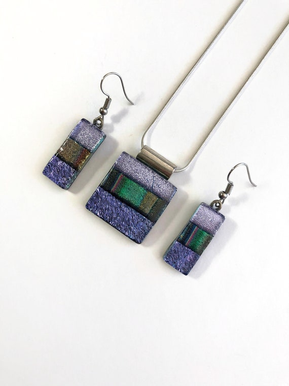 Dichroic glass set, Unique gifts for her, fused glass earrings, Statement jewelry, dichroic glass pendant, gifts for mom, glass jewelry set