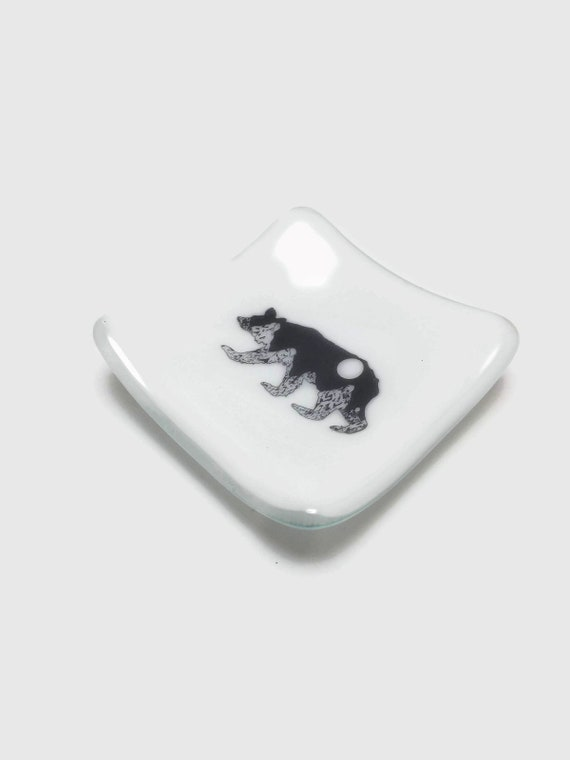 glass plate, unique home decor, gifts for her, bear dish, unique art, fused glass plate, glass sculpture, glass home decor, unique gifts