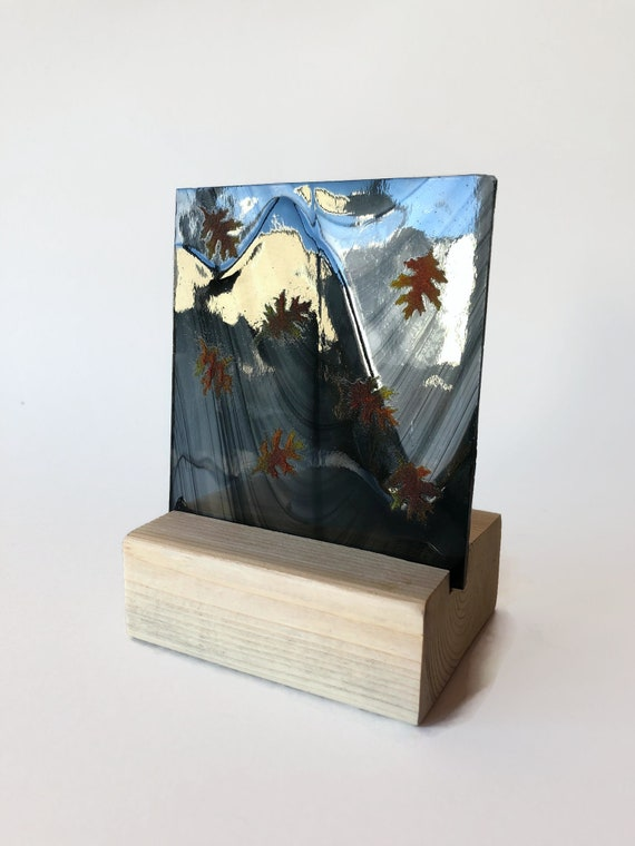 Fused glass art, Christmas candle holder, unique art, Christmas decor, Glass art, unique art, glass home decor, unique gifts for mom, gifts