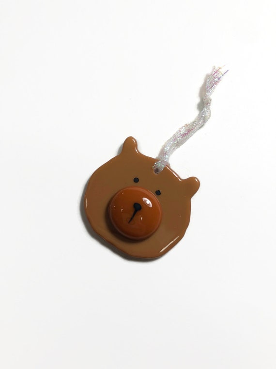 Bear ornament, unique gifts for her, fused glass Art, bear home decor, glass tree ornament, glass ornament, Christmas ornament