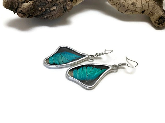 Real butterfly jewelry, unique gifts for mom, butterfly earrings, insect earrings, insect jewelry, real butterfly wing, Butterfly taxidermy