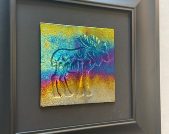 Glass art, moose art, glass wall sculpture, fused glass panel, moose home decor, nature lover gifts, scenery art, landscape picture