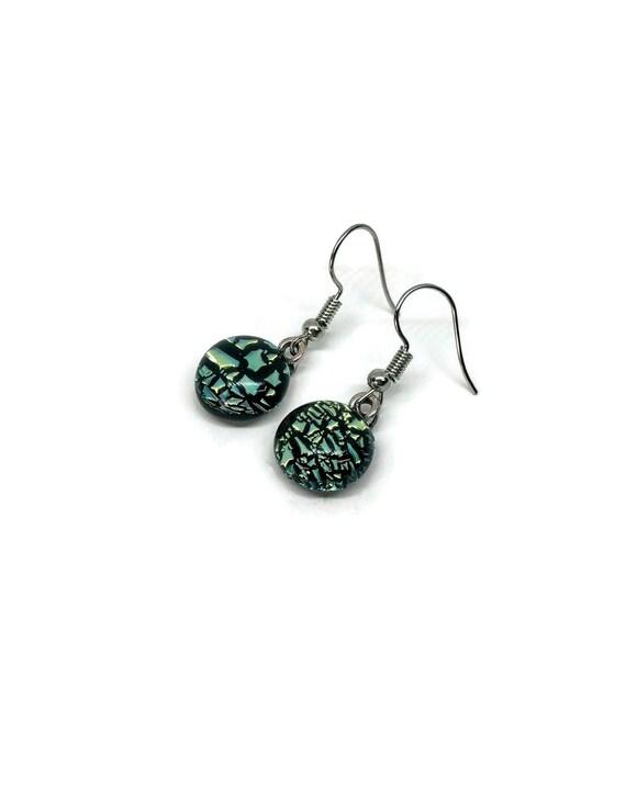 Glass jewelry, unique jewelry, dichroic glass jewelry, minimalist earrings, fused glass earrings, glass earrings, dichroic glass earrings