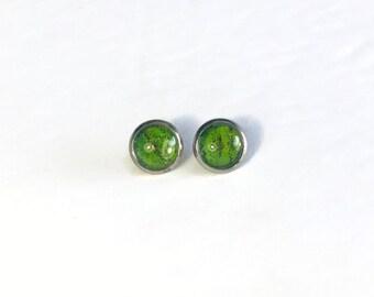 butterfly wing jewelry, green minimalist stud earrings, bridal jewelry, butterfly wing taxidermy, best friend gifts