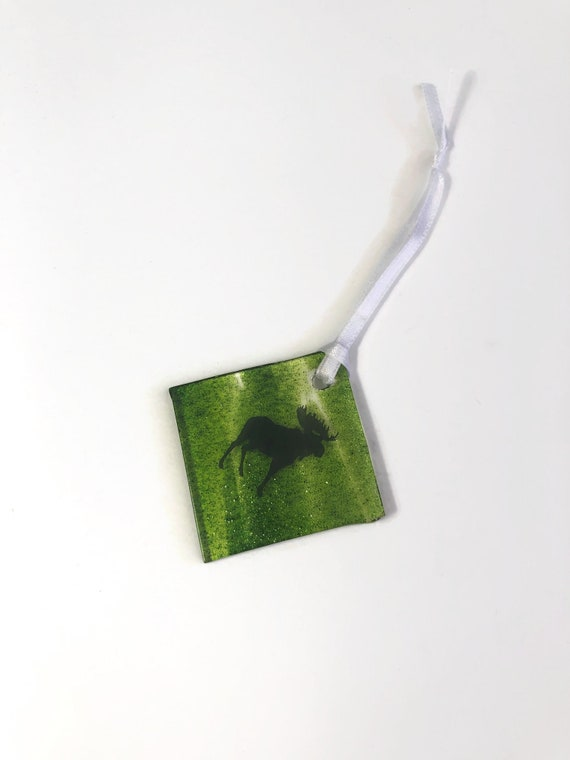 Moose ornament, unique gifts for her, glass ornament, fused glass decoration, Christmas decoration, tree ornament, Christmas ornament