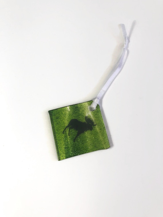 Handcrafted fused glass Moose ornament, unique gifts for him, moose home decor, mountain lover gifts