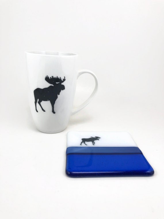 Fused glass art, moose Coffee mug, unique gifts for him, glass coaster, moose home decor, fused glass coaster, gifts for her, mountain art