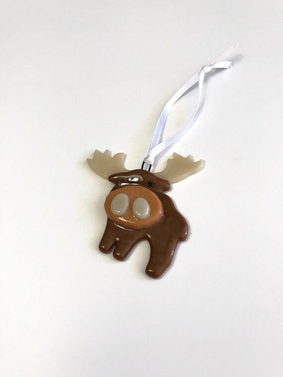 Moose ornament, fused glass ornament, unique gifts for mom, glass ornament, unique art, unique gifts for her, Christmas decor, tree ornament