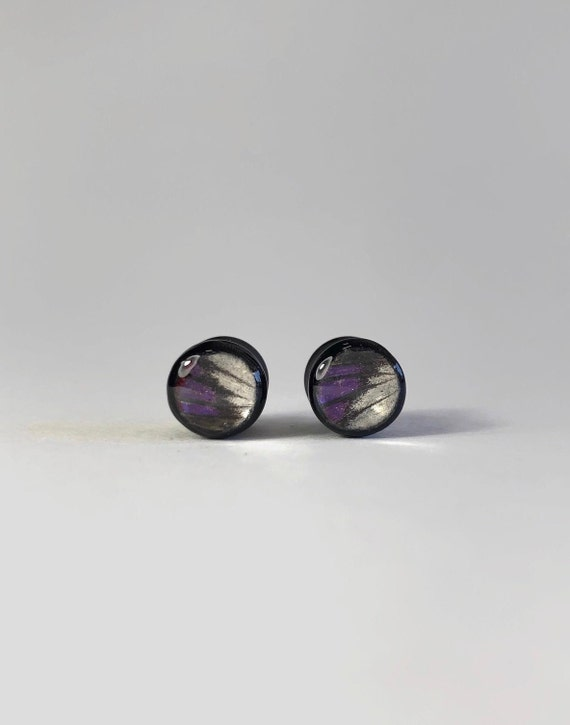 Butterfly ear plugs, plugs and tunnels, pair of plugs, butterfly resin ear tunnels, Unique jewelry, real butterfly wing, butterfly taxidermy