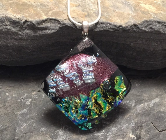 glass necklace, unique jewelry, gifts for her, Dichroic Glass Pendant, Cool gifts, gifts for mom, statement jewelry, Fused Glass Jewelry