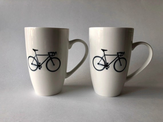 Coffee cup, unique gifts, bike lover, coffee mug, gifts for him, home decor, painted, cup, ceramic mug, bike themed mug, unique art, gifts