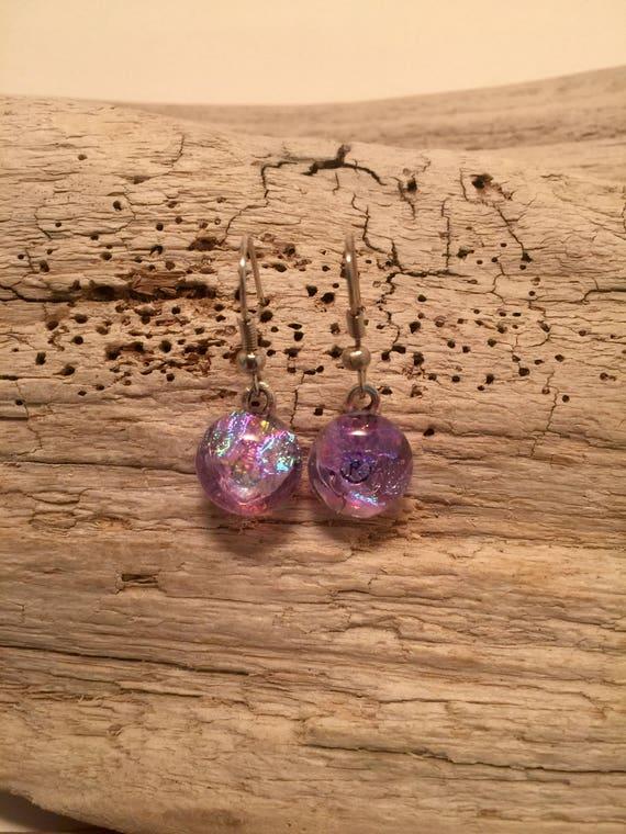 Dichroic glass jewelry, handmade fused glass, dichroic glass earrings, long fused glass earrings, Long Dangle Dichroic Glass earrings