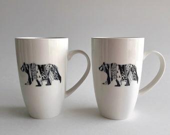 Coffee mug, bear coffee cup, bear home decor, wilderness lover gifts, gifts for her, bear art, ceramic mug, bear themed mug