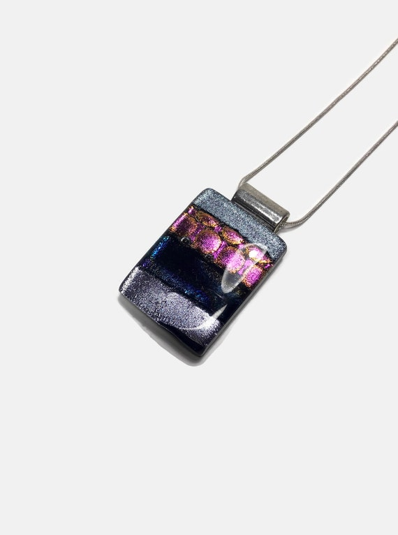 Dichroic glass Jewelry, best friend gifts, fused glass rainbow pendant
