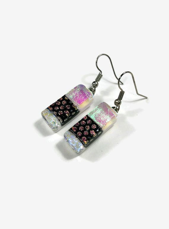 glass earrings, fused glass jewelry, dichroic glass jewelry, Dichroic Glass earrings, glass Jewelry, Dangle earrings, Fused Glass earrings