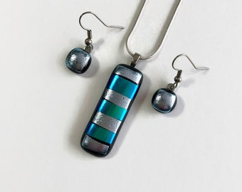 Fused Glass jewelry, silver and blue pendant and earring set, unique gifts for her, dichroic glass jewelry, glass necklace