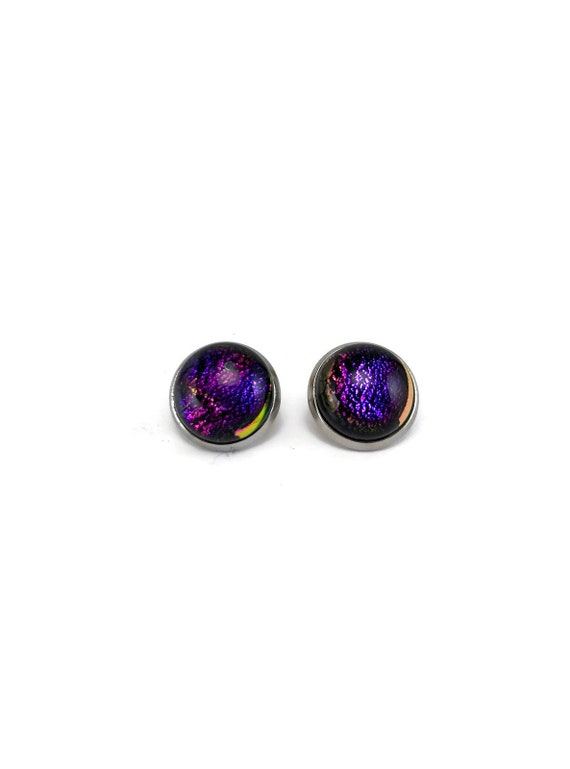 Glass studs, Unique gifts, Dichroic Glass earrings, minimalist jewelry, fused glass earrings, dichroic glass jewelry, Fused glass jewelry