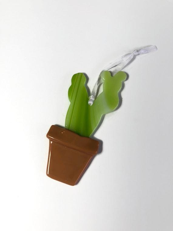 fused glass cactus suncatcher ornament, Unique gifts for him, Plant home decor