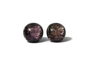 Glass studs, pink earrings, Fused glass jewelry, unique gifts for her, glass earrings, button earrings, dichroic glass studs