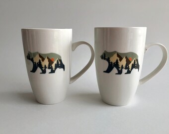 Mug, Bear coffee mug, tea mug, wilderness lover gifts, bear home decor, ceramic mug, bear lover, unique art