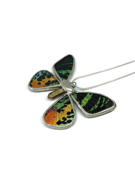 Real butterfly jewelry, real butterfly wing, butterfly pendant, real butterfly necklace, insect necklace, insect necklace, insect pendant