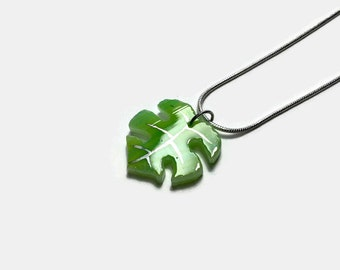 Fused Glass Necklace, plant jewelry, monstera leaf, unique jewelry, Dichroic glass pendant, gifts for her, glass necklace, unique gifts