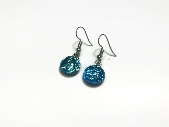 Dichroic glass dangle earrings, jewelry for her, statement jewelry, fused glass earrings