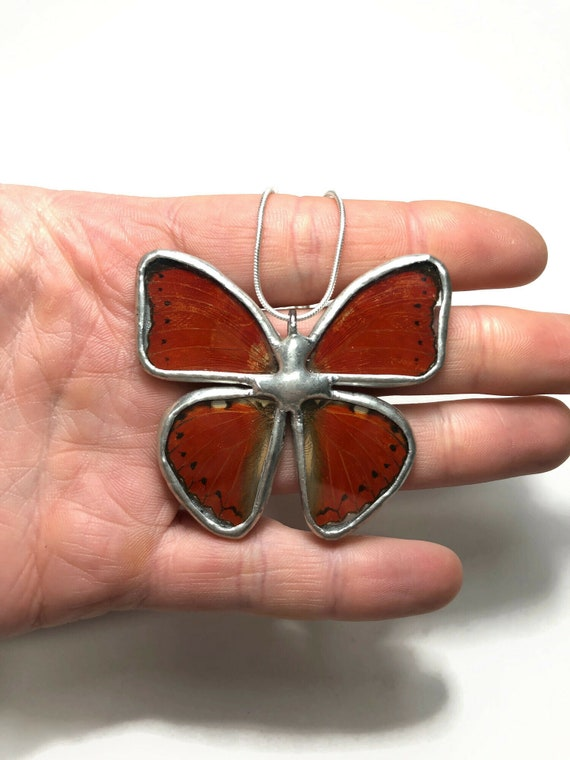Red Butterfly necklace, unique gifts for mom, butterfly jewelry, Insect pendant, butterfly taxidermy jewelry, butterfly lover
