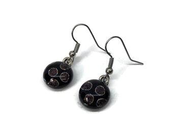 Earrings, glass jewelry, poke a dot earrings, Dichroic glass jewelry, fused glass earrings, statement earrings, sparkle dangle earrings