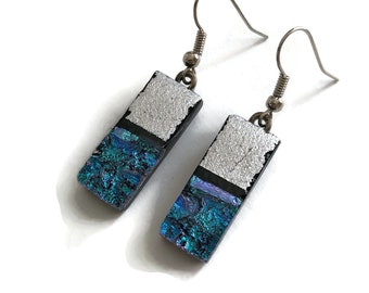 Dichroic glass jewelry, Sparkle earrings, fused Glass earrings, bridal jewelry, glass earring, Unique gifts for her