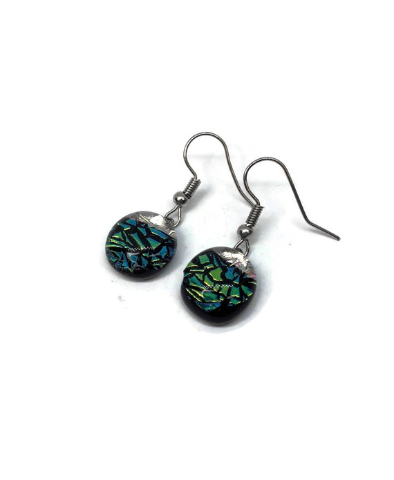 Glass jewelry, dichroic glass earrings, fused glass earrings, glass earrings, Unique gifts, dichroic glass earrings, gifts for her, glass