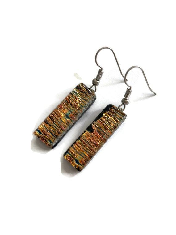 fused glass earrings, statement jewelry, dichroic glass earrings, fused glass jewelry, dichroic glass jewelry, Glass earrings, gifts for her