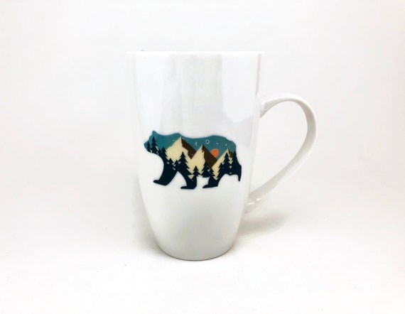 bear mug, unique gifts for her, mountain decor, unique gifts, coffee cup, bear themed mug, bear home decor, gifts for him, bear lover, gifts