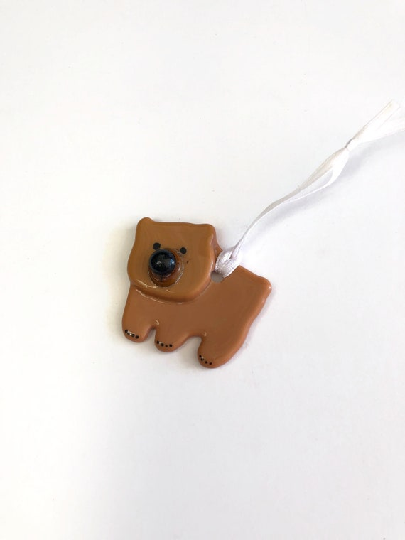 Bear ornament, fused glass ornament, unique gifts for him, glass ornament, unique art, unique gifts for her, Christmas decor, tree ornament